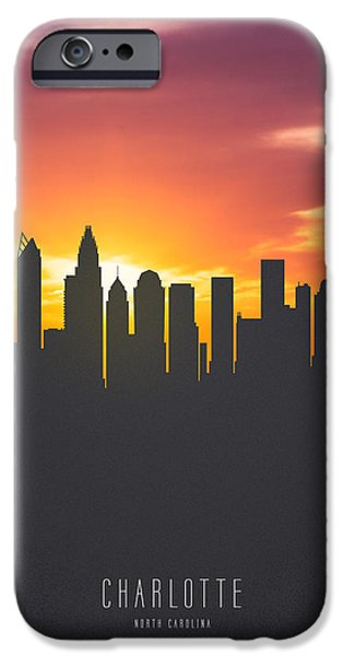 Charlotte North Carolina Sunset Skyline IPhone Case by Aged Pixel