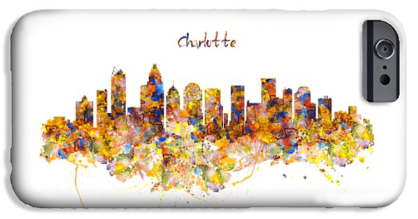 Charlotte Watercolor Skyline IPhone Case by Marian Voicu