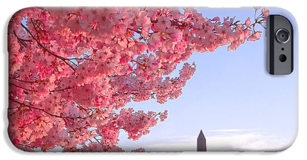 Cherry Tree And The Washington Monument  IPhone 6s Case by Olivier Le Queinec