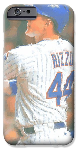 Chicago Cubs Anthony Rizzo 2 IPhone Case by Joe Hamilton