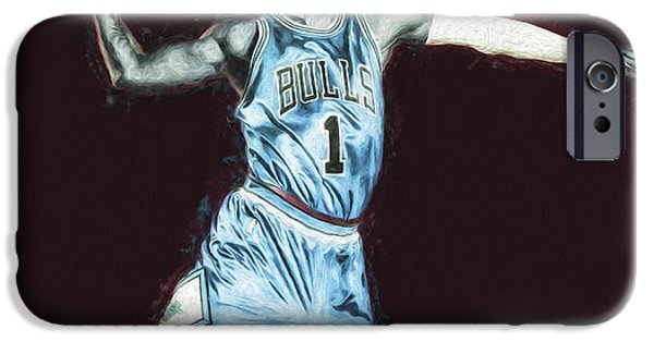 Chicao Bulls Derrick Rose Painted Digitally Blue IPhone Case by David Haskett