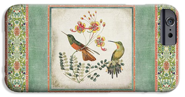Chinoiserie Vintage Hummingbirds N Flowers 1 IPhone Case by Audrey Jeanne Roberts