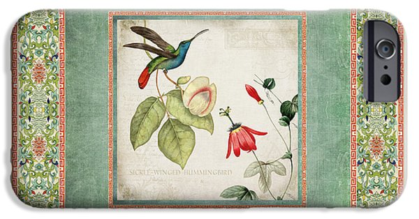 Chinoiserie Vintage Hummingbirds N Flowers 2 IPhone Case by Audrey Jeanne Roberts