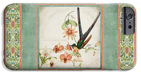 Chinoiserie Vintage Hummingbirds N Flowers 3 IPhone Case by Audrey Jeanne Roberts
