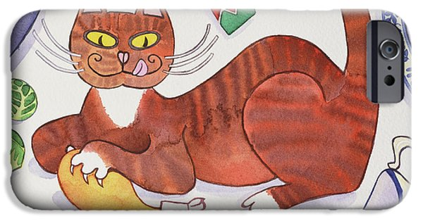 Christmas Cat And The Turkey IPhone 6s Case by Cathy Baxter