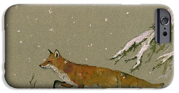 Christmas Fox Snow IPhone Case by Juan  Bosco