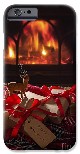 Christmas Gifts By The Fire IPhone Case by Amanda And Christopher Elwell