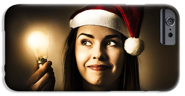Christmas Lights Woman With Bright Idea IPhone Case by Jorgo Photography - Wall Art Gallery