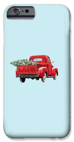 Christmas Tree Truck- Transparent Background IPhone Case by Sarah Batalka