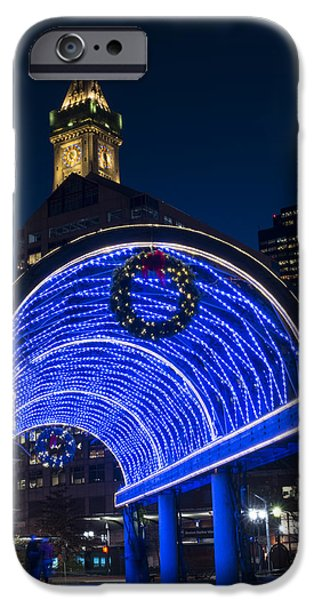 Christopher Columbus Park Trellis Lit Up In Blue For Christmas Boston Ma IPhone Case by Toby McGuire