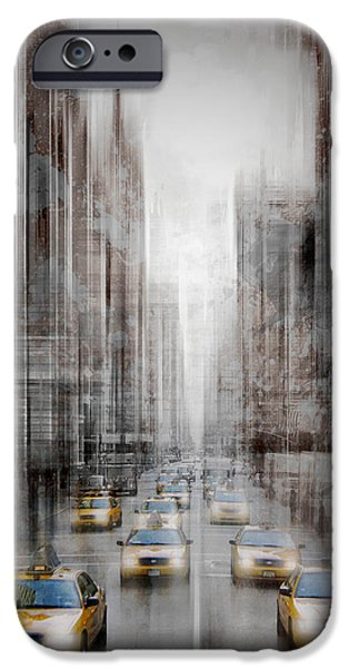 City-art Nyc 5th Avenue Yellow Cabs IPhone Case by Melanie Viola