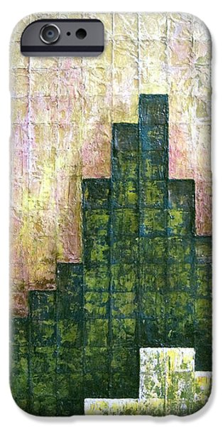 City In Green IPhone Case by Shadia