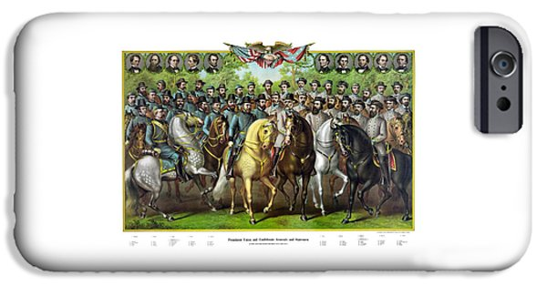 Civil War Generals And Statesman With Names IPhone Case by War Is Hell Store