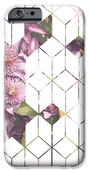 Clematis Geometric Print IPhone Case by Manuela Pugliese