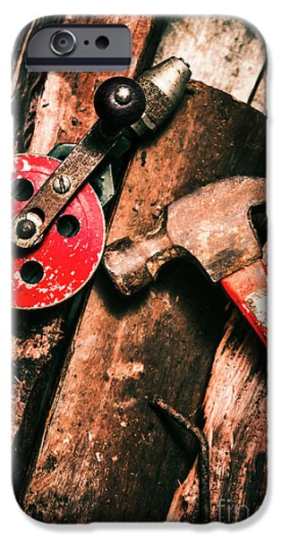 Close Up Of Old Tools IPhone Case by Jorgo Photography - Wall Art Gallery