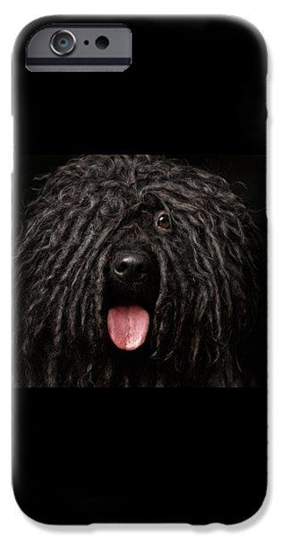 Close Up Portrait Of Puli Dog Isolated On Black IPhone 6s Case by Sergey Taran