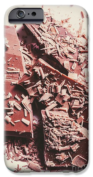Closeup Of Chocolate Pieces And Shavings On Plate IPhone Case by Jorgo Photography - Wall Art Gallery