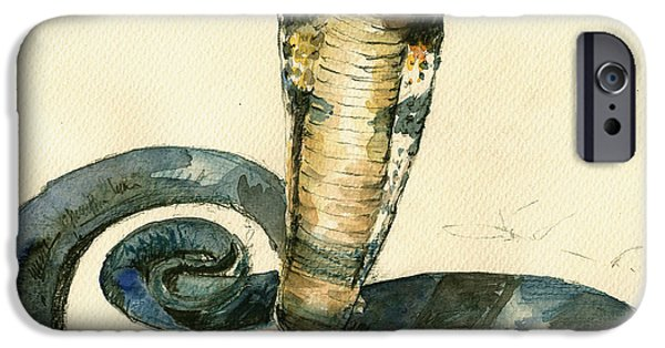 Cobra Snake Watercolor Painting Art Wall IPhone Case by Juan  Bosco