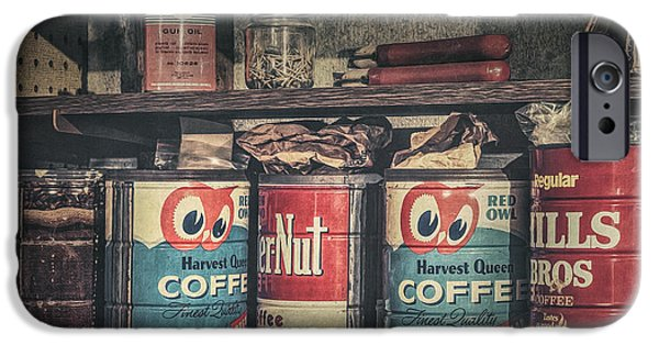 Coffee Tins All In A Row IPhone Case by Scott Norris