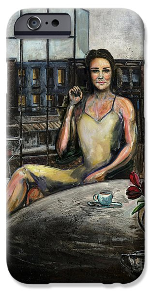 Coffee With Kate IPhone Case by Antonio Ortiz