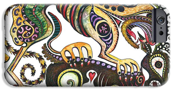 Colored Cultural Zoo D Sarmatian Struggle IPhone Case by Melinda Dare Benfield