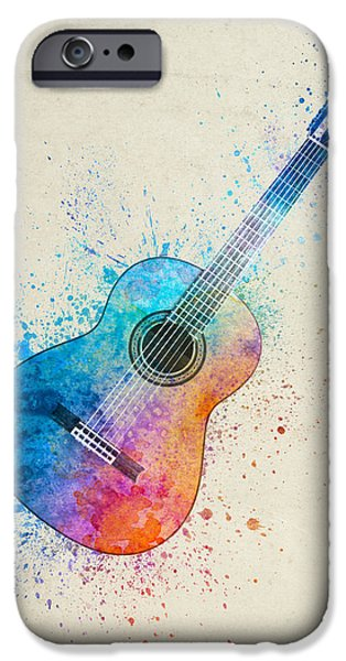 Colorful Acoustic Guitar 05 IPhone Case by Aged Pixel