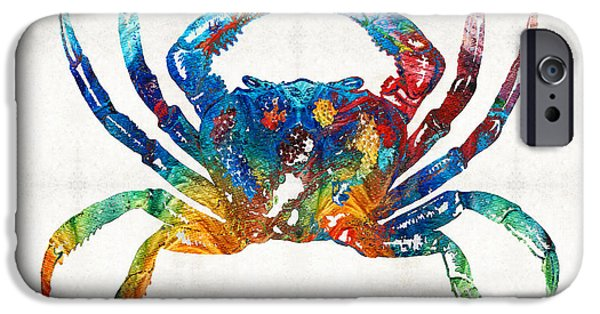 Colorful Crab Art By Sharon Cummings IPhone Case by Sharon Cummings
