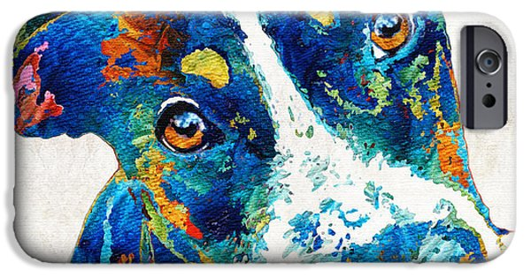 Colorful Dog Art - Happy Go Lucky - By Sharon Cummings IPhone Case by Sharon Cummings