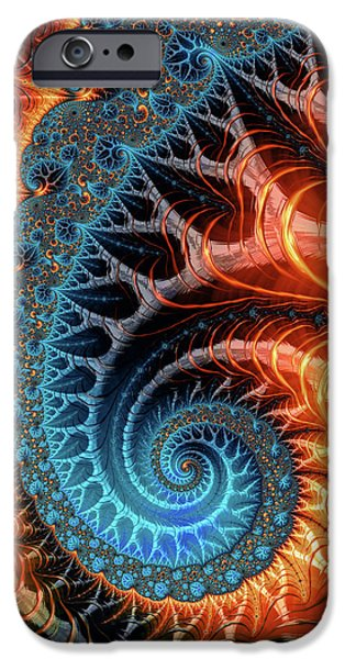 Colorful Luxe Fractal Spiral Turquoise Brown Orange IPhone Case by Matthias Hauser