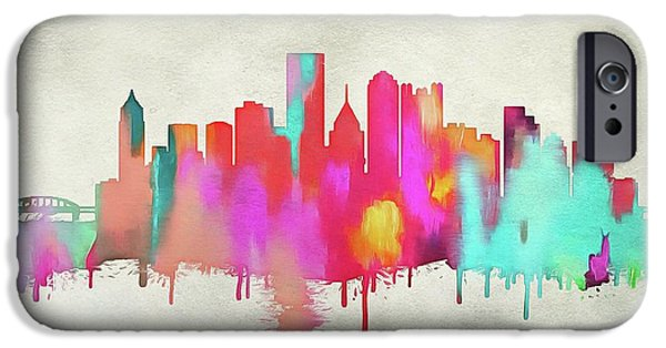 Colorful Pittsburgh Skyline Silhouette IPhone Case by Dan Sproul