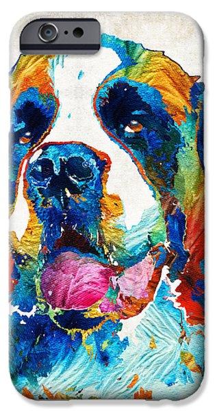 Colorful Saint Bernard Dog By Sharon Cummings IPhone Case by Sharon Cummings