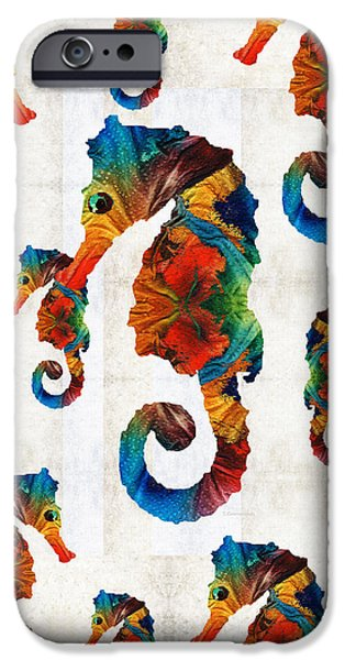 Colorful Seahorse Collage Art By Sharon Cummings IPhone 6s Case by Sharon Cummings