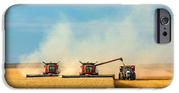 Combines And Tractor Working Together IPhone Case by Todd Klassy