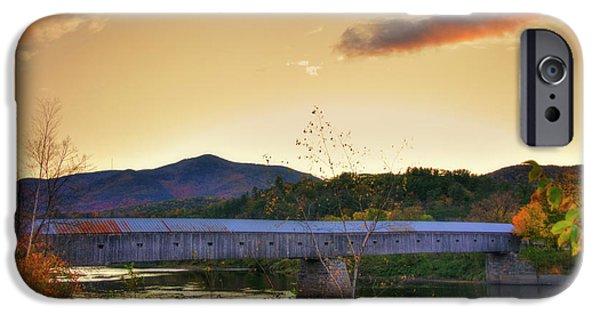 Cornish Windsor Covered Bridge In Autumn IPhone Case by Joann Vitali
