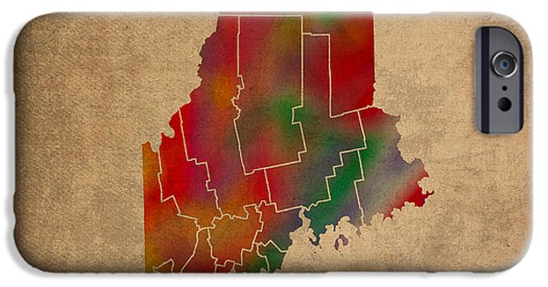 Counties Of Maine Colorful Vibrant Watercolor State Map On Old Canvas IPhone Case by Design Turnpike