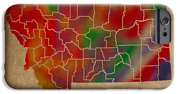 Counties Of Montana Colorful Vibrant Watercolor State Map On Old Canvas IPhone Case by Design Turnpike