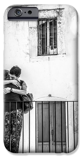 Couple Of Guys Hugging Leaning On A Railing - Black And White With Vignetting IPhone Case by Luca Lorenzelli