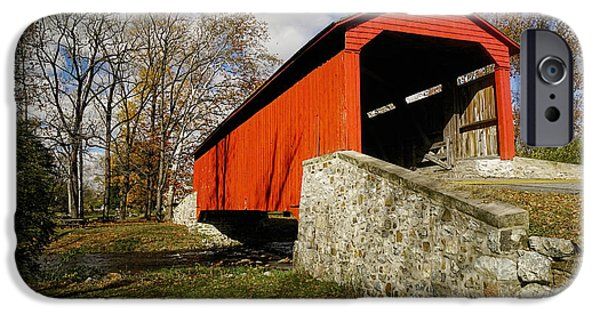 Covered Bridge At Poole Forge IPhone Case by William Jobes