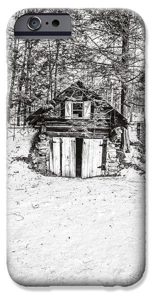 Creepy Winter Cabin In The Woods IPhone Case by Edward Fielding