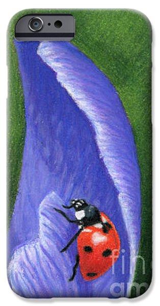 Crocus And Ladybug Detail IPhone Case by Sarah Batalka