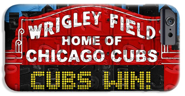 Cubs Win Wrigley Field Chicago Illinois Recycled Vintage License Plate Baseball Team Art IPhone 6s Case by Design Turnpike