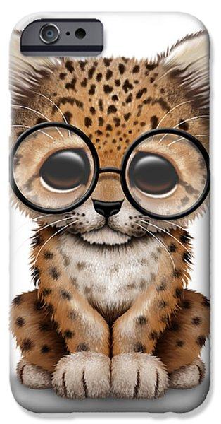 Cute Baby Leopard Cub Wearing Glasses IPhone 6s Case by Jeff Bartels