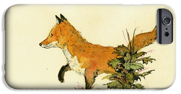 Fox IPhone Case featuring the painting Cute Fox In The Forest by Juan  Bosco