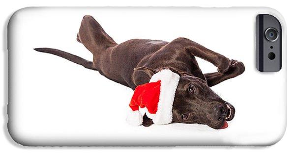 Cute Labrador Dog Laying Wearing Santa Hat  IPhone Case by Susan  Schmitz