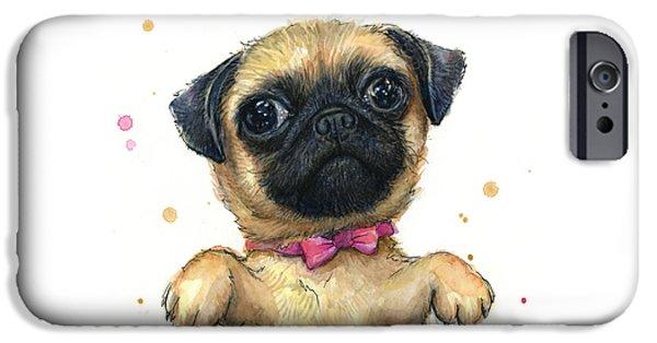 Cute Pug Puppy IPhone Case by Olga Shvartsur