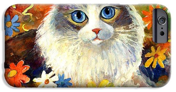 Cute Ragdoll Tubby Cat In Flowers IPhone Case by Svetlana Novikova