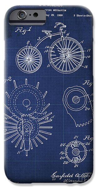 Cycle Driving Mechanism Patent Blueprint Year 1930 Blue Background IPhone Case by Pablo Franchi