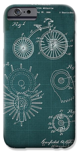 Cycle Driving Mechanism Patent Blueprint Year 1930 Green Background IPhone Case by Pablo Franchi