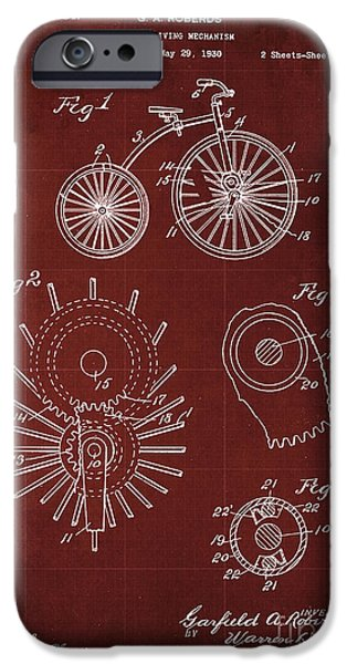 Cycle Driving Mechanism Patent Blueprint Year 1930, Red Background IPhone Case by Pablo Franchi