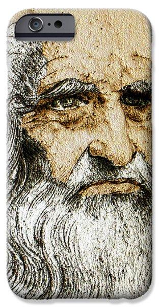 Da Vinci Self Portrait Remastered With Added Color By Da Vinci IPhone Case by Tony Rubino